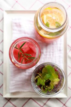 she who eats: mostly water - with a hint of summer flavors. peach sage water, watermelon rosemary water, and blueberry mint water.