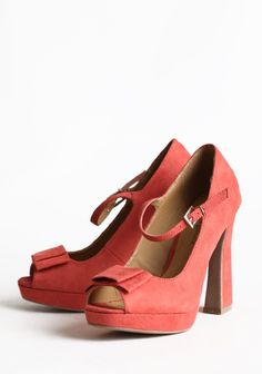 "Coral Flair Mary Jane Peep Toe Heels 42.99 at shopruche.com. We adore these vintage-inspired, faux suede mary jane heels in soft coral. Polished with a peep toe and charming bow accent. Adjustable ankle strap.  All man made materials, 4.5"" heel, 0.5"" platform, Slightly padded footbed"
