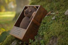 Honey teddy Dark Brown wooden box custom gift scented by AbbuToys