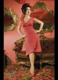 Summer Sun Dress - The Anna Dress in Red Polka Dot with Red Trim by Pinup Couture.  This is going on must list of things to buy.  $72