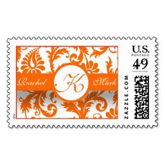 Save The Date Orange Damask Wedding Postage