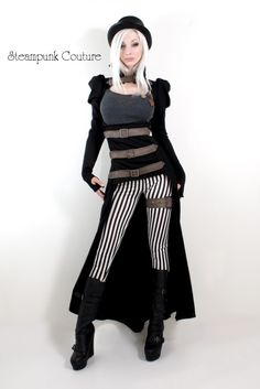 """Black and white thin stripe skinny fit pants"" by Steampunk Couture, 2012 collection"