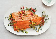 Slow cooking salmon with cherry tomatoes recipe