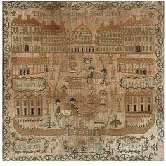 Sampler of the Foundling Hospital of 1763, stitched in 1825 by Sarah Ann Quartermain.