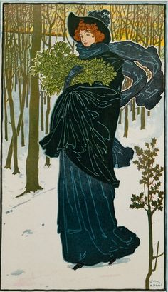 Louis John Rhead - SCRIBNER'S FOR XMAS - 1895 - Commercial lithography; yellow, blue, red, and black.