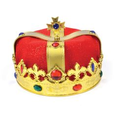 Kings Hat Gold Plastic & Red Velvet Hat for Fairytale Royal Fancy Dress Hat for sale online Velvet Hat, Red Velvet, Queen Crown, King Queen, Harry Potter Tie, Fancy Dress Hats, King Hat, Clown Wig, Medieval Gothic