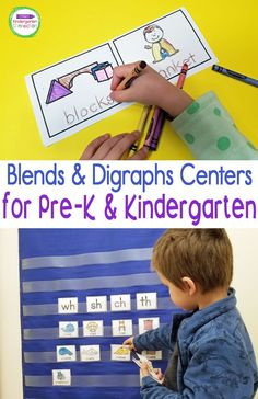 These blends and digraphs activities are perfect for working on blends and digraphs with Kindergarten students (or 1st grade too!) Designed with early readers in mind, these blends and digraphs activities will give you a variety of differentiated centers and options for your students. Word Family Activities, Letter Activities, Phonics Activities, Kindergarten Literacy, Literacy Centers, Blends And Digraphs, Beginning Sounds, Early Readers, Word Families