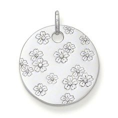 THOMAS SABO disc pendant with eyelet made from 925 Sterling Silver with white syn. zirconia. White syn. zirconia stones framed by delicately engraved flowers on 925 Sterling Silver (Size: 3.5 cm).