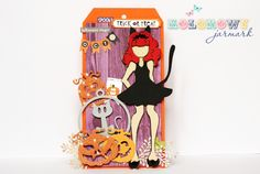 Halloween Tag by mru - Scrapbook.com - Such a fun use of the Prima doll stamps!