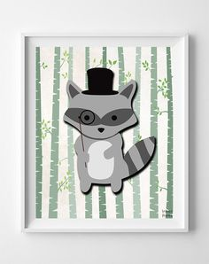 Woodland Raccoon White Background posters by Inkist Prints! This unique nursery decor print will make a great addition to any nursery and kids room. It would also be a great gift for baby shower and birthday.