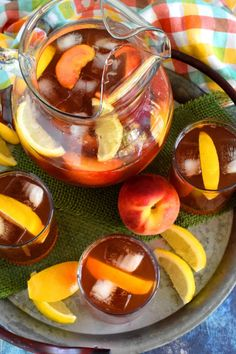 A few ingredients and a little patience is all you need to make a pitcher of Sweetened Peach Iced Tea - summer's favourite cold refresher! Peach Ice Tea, Peach Syrup, Iced Tea Recipes, Popsicle Molds, Food Shows, Few Ingredients, Recipe For 4, Breakfast Time, Simple Syrup