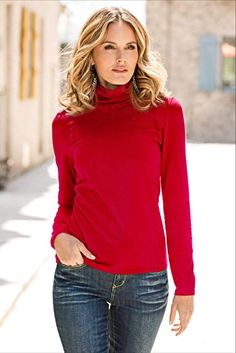 c5c30355c7 So Sexy Solid Color Women s Basic Turtleneck Long Sleeve Knit Top at Amazon  Women s Clothing store