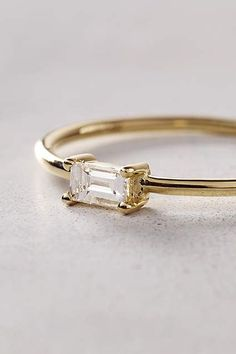 Baguette Diamond Ring in 14k Yellow Gold - anthropologie.com #anthrofave