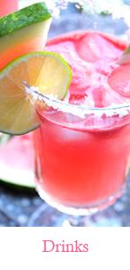Watermelon Margarita's  3 cups cubed watermelon, 2 limes juiced, 1 cup of Cabo Wabo tequila, 1/4 cup triple sec,  1/2 cup sugar, 1/2 cup water, salt or sugar for rim 1) Heat sugar and water in pot. You are doing this to make a simple syrup.  When the sugar is dissolved...take off of stove and let cool 2) In the meantime juice the watermelon in a juicing machine.  3) Add lime juice, tequila, triple sec, and cooled simple syrup to the watermelon  juice.