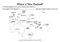 Our location worksheets are designed to help children locate countries and capitals and work out their relative size and position with their neighbours. These two worksheets are for New Zealand. The guided worksheet is for younger children. Where Is New Zealand, Weather In New Zealand, Capital Of New Zealand, New Zealand Flag, New Zealand Beach, Visit New Zealand, Australia Facts For Kids, Australia Capital, Map Worksheets