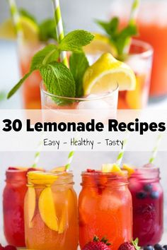 In hot days, it's great to enjoy cool glasses of lemonade to cool down, right? If you are looking for simple and delicious drink recipes, this post is for you. Today, we are happy to introduce 30 cool lemonade recipes. Let's look at them and ch Fresh Mint Lemonade Recipe, Watermelon Mint Lemonade, Healthy Lemonade, Fresh Strawberry Recipes, Best Lemonade, Frozen Drink Recipes, Homemade Lemonade Recipes, Cookout Food, Yummy Drinks
