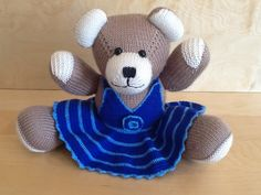 Beige Berd Bear, Blue Crocheted Dress