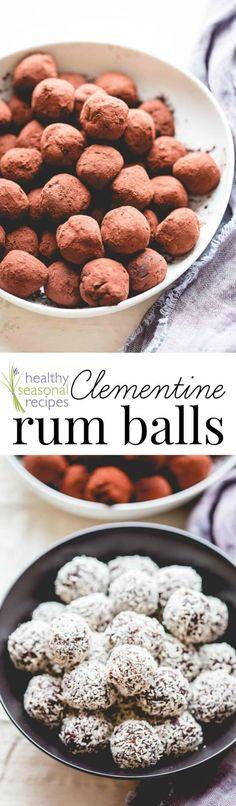 Clementine Rum Balls | Vegan and No-Bake! A great addition to Christmas Cookie collections | From Healthy Seasonal Recipes by Katie Webster