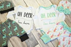 Oh Deer I'm Here: the perfect coming home outfit or baby shower gift for all of the new little ones! off retail through Organic Baby Clothes, Cute Baby Clothes, Twin Clothes, Shower Outfits, Twin Outfits, Kids Outfits, Twin Babies, Twins, Oh Deer