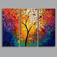 pintura a óleo pintados à mão moderna paisagem com esticada conjunto de quadros, de 3 de – BRL R$ 267,81