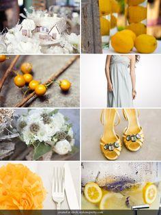 Yellow Grey Inspiration - see lemon lavender water! Yellow Grey Weddings, Gray Weddings, Yellow Wedding, Inspiration Boards, Wedding Inspiration, Design Inspiration, Wedding Color Schemes, Wedding Colors, Future Vision