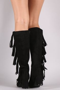 These chic fringe design, and wrapped block heel. Finished with a cushioned insole, smooth lining, and full-length side zipper closure for easy on/off. Material: Vegan Suede (man-made) Sole: Synthetic Mid Calf Boots, Knee High Boots, Side Fringe, Block Heels, Shoe Boots, Shops, Smooth, Community, Closure