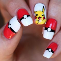 Not actual porn, just nails! 💅🏻💅🏼💅🏽💅🏾💅🏿None of these nails are mine unless stated. I just make gifs & gif tutorials, but all posts have the original nail artist. Cute Nail Art, Cute Acrylic Nails, Cute Nails, Pretty Nails, Pikachu Nails, Anime Nails, Diy Nails, Nails Inspiration, Hair And Nails