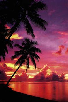 Tahitian beach sunset