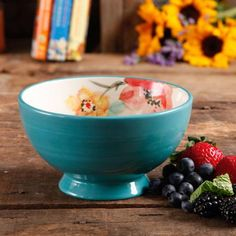 "The Pioneer Woman Flea Market 6"" Decorated Footed Bowls, Turquoise & Floral (Available in Set of 4 or Single)"