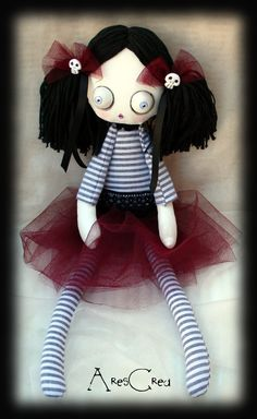 Iris handmade creepy cute goth cloth doll with by AresCrea on Etsy, $55.00