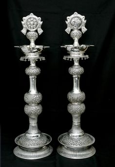 Silver Lamp/Diya - for my puja room Silver Jewellery Indian, Gold Jewellery Design, Silver Jewelry, Antique Metal, Antique Silver, Jewish Sabbath, Silver Home Accessories, Silver Pooja Items, Silver Lamp