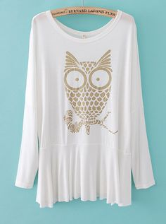 White Long Sleeve Owl Print Pleated T-Shirt