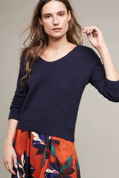 Anthropologie Ribbed Twist-Back Pullover