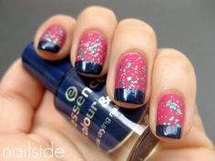 Pink with Sparkles and Navy Blue Tips