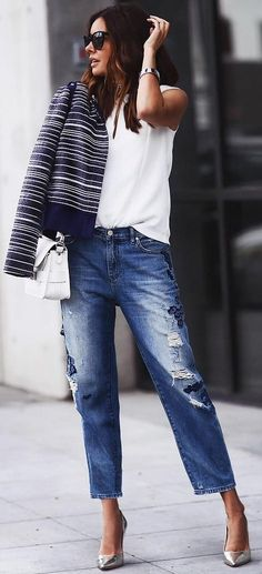 #fall #street #trends |  Stripes + Fehér + farmer