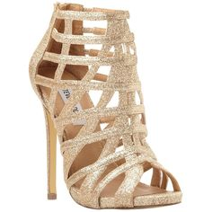 Steve Madden Marquee Caged High Heel Sandal, Gold ($145) ❤ liked on Polyvore featuring shoes, sandals, gold, heeled sandals, glitter flat sandals, flat shoes, gold shoes and gold sandals