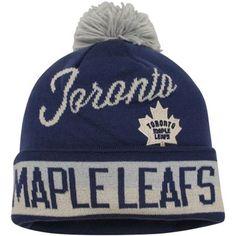 Mens Toronto Maple Leafs Navy Blue CCM Cuffed Knit Beanie w/Pom