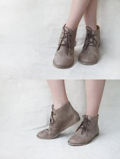 Leona in Ecru - Handmade Leather flat lace-up ankle boots - CUSTOM FIT.  via Etsy.