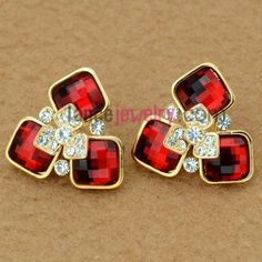 Classic rhinestone & red crystal decoration stud earrings