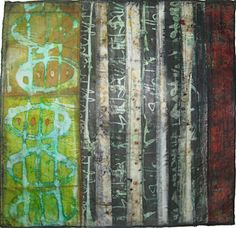 Jennifer Solon - Strands of Thought  Mixed media collage (textiles, encaustic wax, pigments): 20in. x 20in., 2011