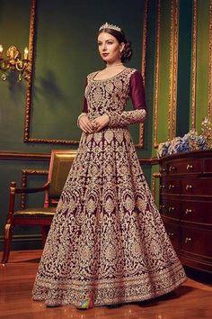 c429bacbcf Winsome Wine Soft Taffeta Silk Stone Work Bridal Wear Long Anarkali Gown