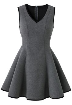 V-neck Skater Dress in Grey - Retro, Indie and Unique Fashion