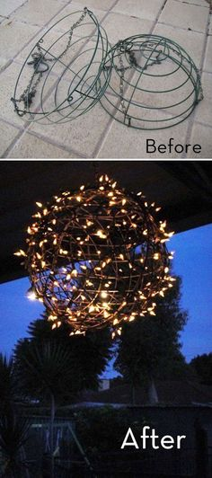 "CHANDELIER :: Easy DIY ""Fairy Light Ball"" :: Made from a couple of plant baskets & Christmas lights! She used zip ties & silver spray paint.use for my globe garden decoration Ball Lights, Globe Lights, Light Globes, String Lights, Lights Hanging From Trees, Party Lights, Christmas Baskets, Christmas Diy, Christmas Projects"