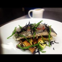 great spring menu by Chef John Johnson! Local Black Sea Bass/ steamed over Yuzu Dashi/ avocado mushroom and sea beans