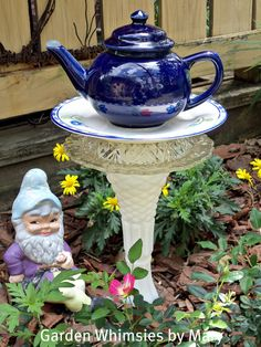 Garden Stake Teapot and Tulips