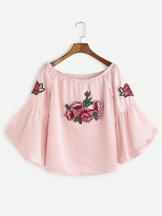 Pink Boat Neck Bell Sleeve Flower Embroidered Patch Top