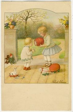 Pauli Ebner, Girls Playing in the Garden with Toys, Teddy Bear, Bunny Lamb Dolls