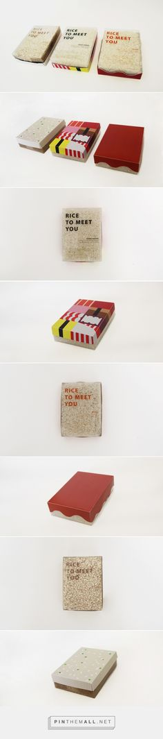Rice to Meet You - rice packaging design - DO curated by Packaging Diva PD. Rice to Meet You is a rice brand which targets younger demographics (students or young professional) as potential customers. Packaging design provides the simplified image of foods that is most suitable for each kind of rice.