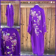 Beautiful Vintage Purple Floral Kimono Plum Blossom with Birds One Size | eBay