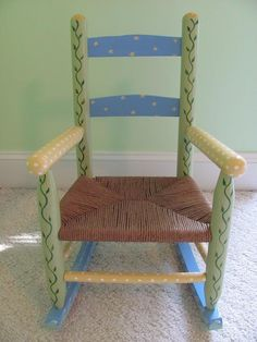 Child's Painted Rocker with Rush Seat by TopDrawerArt on Etsy, $100.00